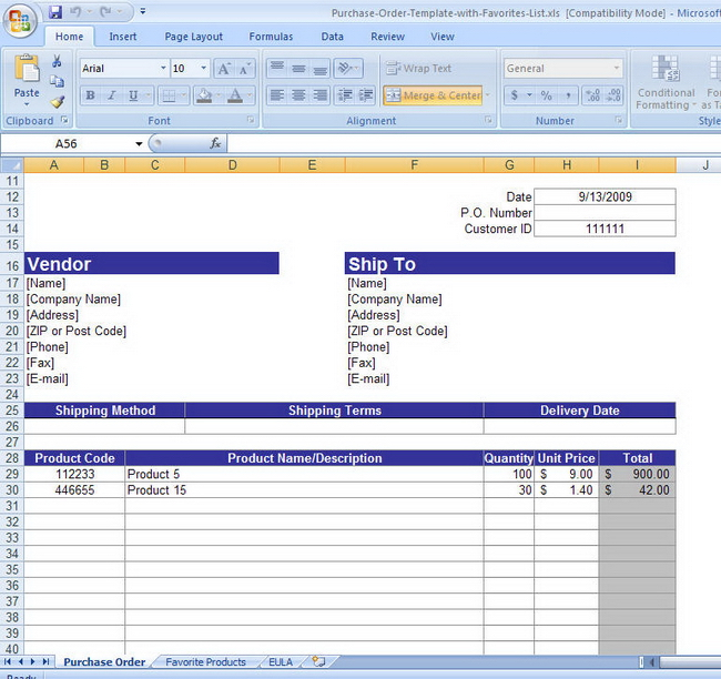 free work order template. purchase order template excel.